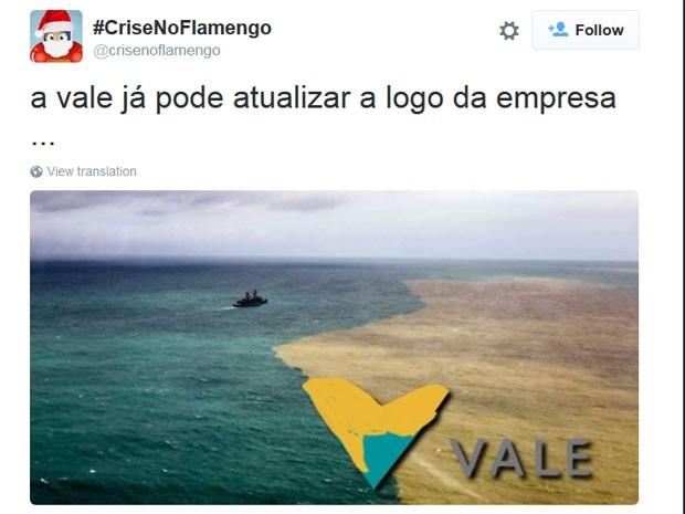 Segundo o internauta, a Vale já pode atualizar a logo da empresa  (Foto: Reprodução/CriseNoFlamengo/Twitter)