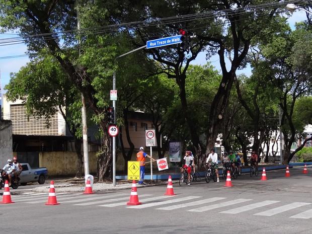 Ciclofaixas já são tradição dos finais de semana e feriados no Recife. (Foto: Katherine Coutinho / G1)
