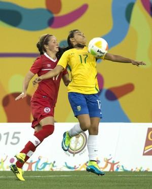 Raquel Fernandes Futebol feminino Brasil x Canadá Pan-Americana (Foto: Peter Power/AP)