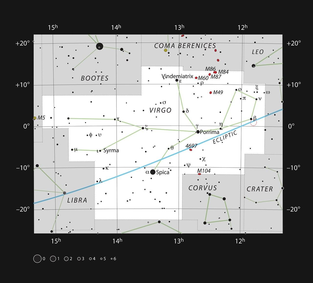 Mapa para chegar à Ross 128 (fica no pequeno círculo vermelho no canto superior direito), na constelação de Virgem (Foto: NASA)