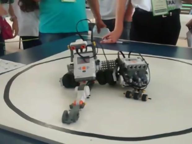 """Robôs """"lutam sumô"""" em festival de robótica em Suzano (Foto: Jamile Santana/G1)"""