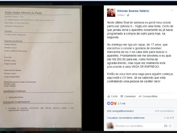 Mensagem do dono do celular perdido em Goiânia bombou nas redes sociais (Foto: Murillo Velasco/G1)