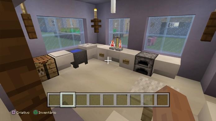 É difícil criar uma cozinha em Minecraft pois os utensílios não ajudam muito (Foto: Reprodução/Rafael Monteiro)