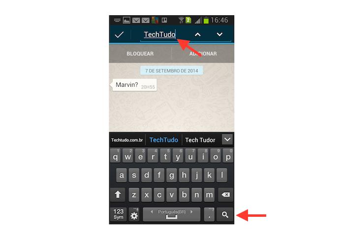 Buscando por uma conversa no chat do WhatsApp do Android (Foto: Reprodução/Marvin Costa)