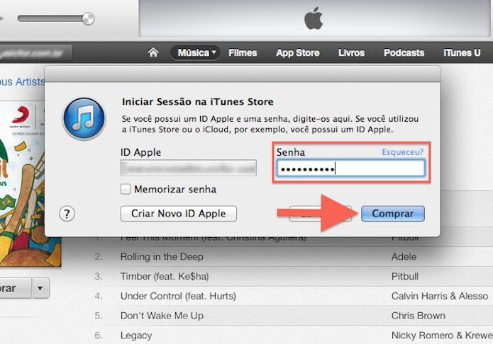 Confirmando a ID Apple para completar uma compra na iTunes Store (Foto: Reprodução/Marvin Costa)