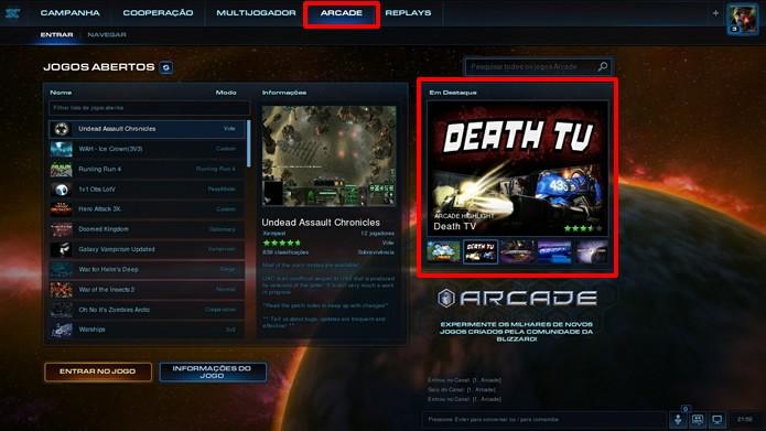 A tela inicial do modo Arcade exibe os jogos em aberto e os cenários em destaque (Foto: Reprodução/Daniel Ribeiro)