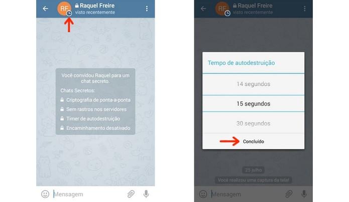 Definição do tempo de autodestruição de mensagem no Telegram  (Foto: Reprodução/Raquel Freire)