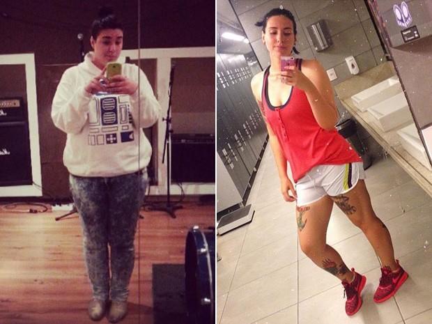 Hallini foi incentivada a entrar na academia por sua chefe; 38 kg mais magra, ela também parou de fumar (Foto: Hallini Rotondo/Arquivo pessoal)