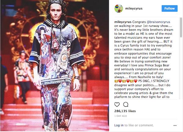 O post com a crítica de Miley Cyrus  (Foto: Instagram)
