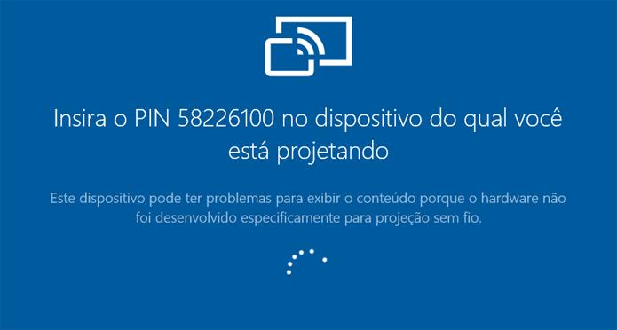 Aplicativo exibe PIN para permitir projeção (Foto: Reprodução/Windows)
