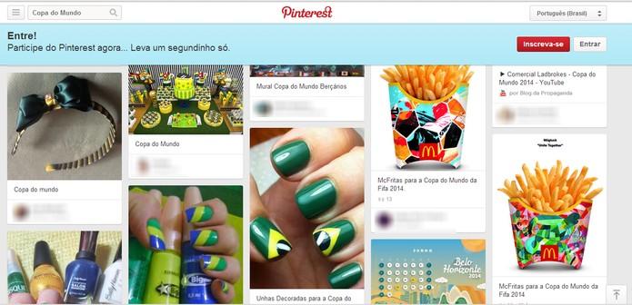 Pinterest promete agrupar fotos, vídeos e outros conteúdos relevantes sobre a Copa (Foto: Reprodução/Elson de Souza)