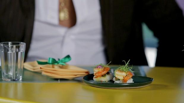 'Fominha': cuscuz de tapioca com camaro picante no dend e quiabo crocante da chef Ana Luiza Trajano (Foto: Reproduo GNT)