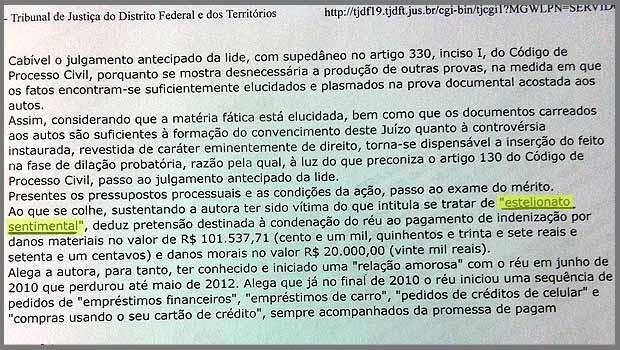 Trecho da decisão do juiz da 7ª Vara Cível de Brasília que condenou homem a ressarcir ex por dinheiro que ela dava a ele durante o tempo em que namoraram (Foto: Reprodução)