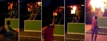Idoso tenta entrar em casa em chamas e escapa ao seguir apelo dos vizinhos (Reprodução/Inter TV)