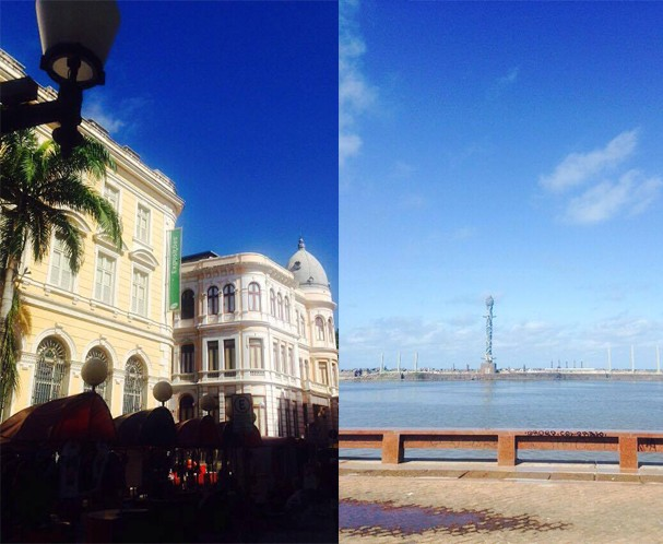 Arquitetura do período colonial no centro velho (a esq. ) e o parque das esculturas Francisco Brennand (à dir.) (Foto: João Augusto Anfe)