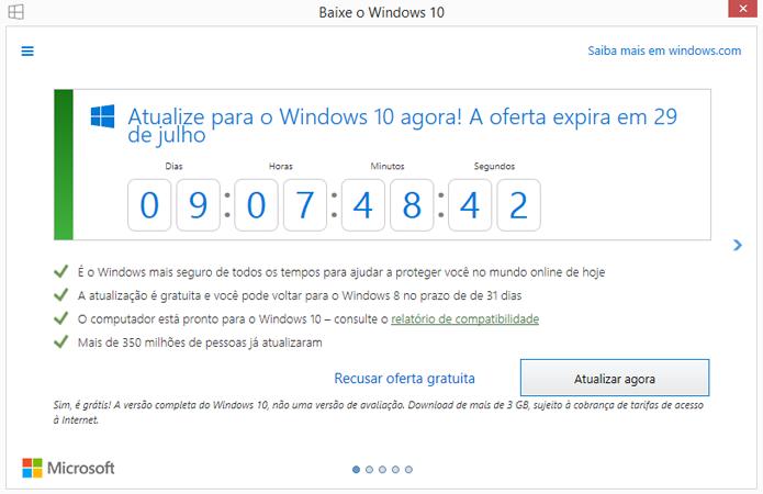Contador da Microsoft mostra tempo até fim da atualização para Windows 10 (Foto: Reprodução/Windows)