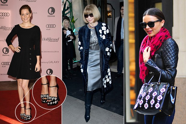 Famosas com look Prada - Elizabeth Banks, Anna Wintour e Miranda Kerr (Foto: Getty Images)
