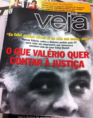"""Revista """"Veja"""" traz reportagem sobre depoimento de Valério (Foto: Reprodução)"""