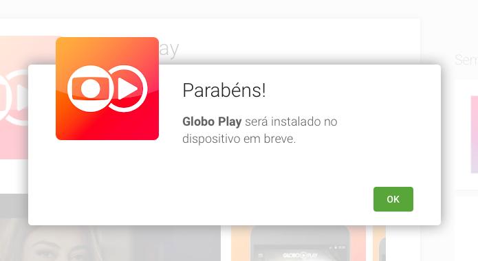 Mensagem informa que aplicativo será instalado no celular (Foto: Reprodução/Helito Bijora)