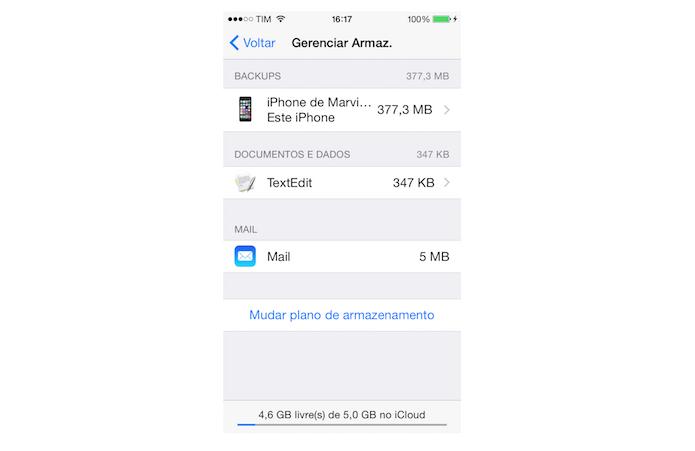 O tamanho do backup do iPhone no iCloud foi alterado (Foto: Reprodução/Marvin Costa)
