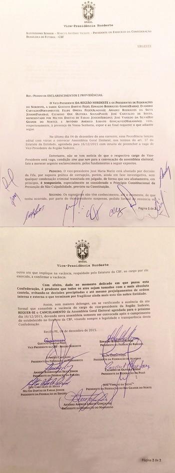 documento dos presidentes de federacoes do NE contra a CBF 2 (Foto: Divulgação)