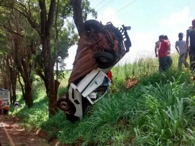 Carro capotou e só foi parar em uma árvore na rodovia (Foto: Divulgação)