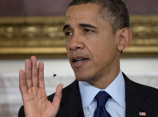 Inseto ronda o presidente durante discurso na Casa Branca (Foto: Carolyn Kaster/AP)