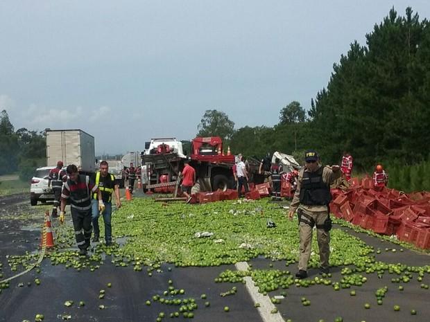 Carga de limões do caminhão ficou espalhada na pista (Foto: Zete Padilha/RBS TV)