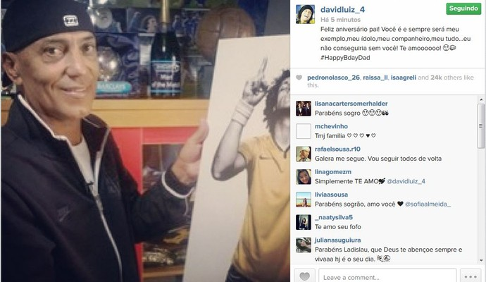 David Luiz deseja feliz aniversário ao pai (Foto: Reprodução/Instagram)