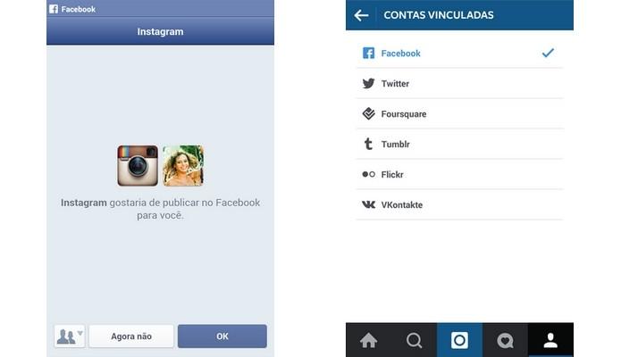 Facebook já vinculado ao Instagram (Foto: Reprodução/ Raquel Freire)