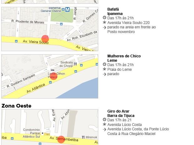 Blocos de sábado no Rio (Foto: Editoria de Arte/G1)