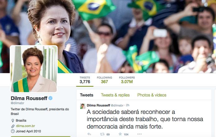 Dilma Roussef é destaque como líder político que mais ganhou seguidores no Twitter (Foto: Reprodução/Twitter)