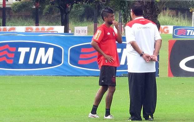 Leo Moura e Joel, Flamengo (Foto: Richard Fausto de Souza / Globoesporte.com)