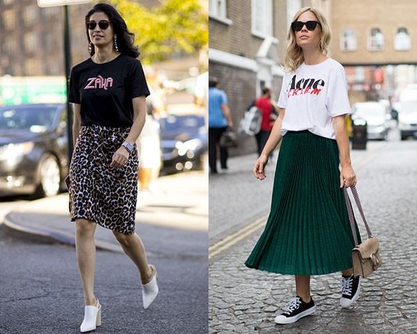 As camisetas funcionam bem com o combo saia mídi + tênis (Foto: Imaxtree)