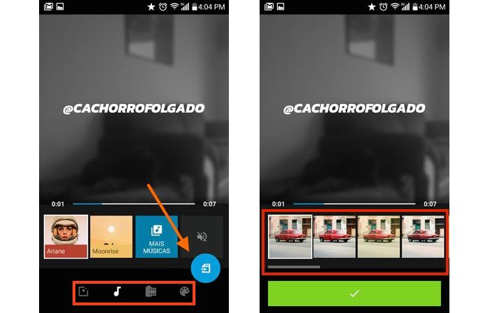 No menu do Quik é possível editar clipes, colocar música, efeitos e outros recursos (Foto: Melissa Cruz / TechTudo)