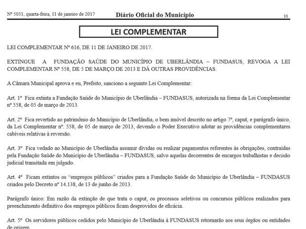 Com Fundasus extinta, concurso público perde validade em Uberlândia (Foto: Reprodução/DOM)