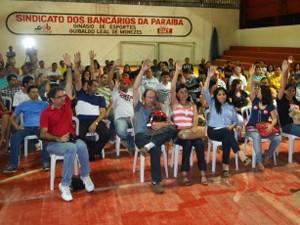Em assembleia, maioria dos bancários da Paraíba decidiram encerrar a greve (Foto: Otávio Ivson/Sindicato dos Bancários da Paraíba)