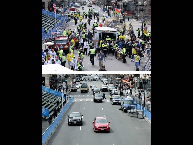 Imagens registradas pela agência de notícias Associated Press comparam o local onde ocorreram as explosões na Maratona de Boston em 15 de abril de 2013 com fotos do mesmo ângulo quase um ano depois (Foto: Charles Krupa/AP)