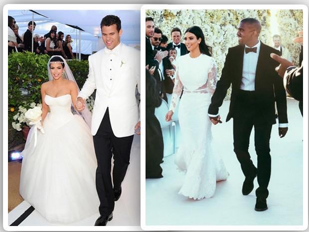 Kim Kardashian: casamento com Kris Humphries e casamento com Kanye West (Foto: Reprodução)
