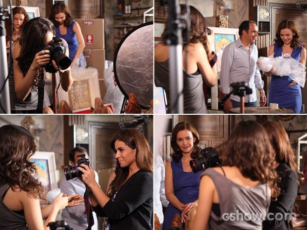 Marina fotografa peças de Virgílio, ensina Clara e Helena observa (Foto: Carol Caminha/ TV Globo)