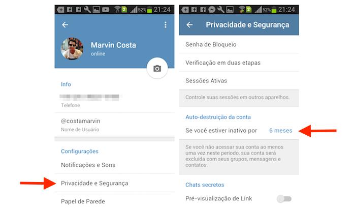Acesso para a opção de autodestruição de uma conta do Telegram no Android (Foto: Reprodução/Marvin Costa)