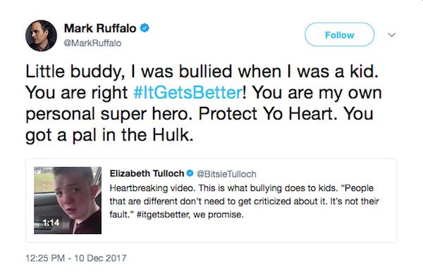 A mensagem compartilhada por Mark Rufallo prestando solidariedade ao jovem Keaton (Foto: Twitter)