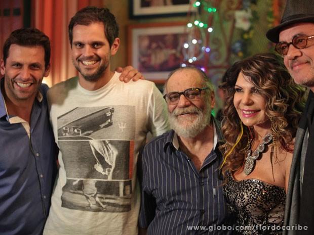 Henri Castelli, Leo Nogueira, Walther Negrão, Elba Ramalho e Jean Pierre Noher (Foto: Flor do Caribe / TV Globo)