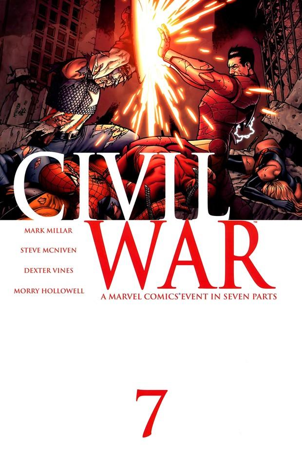 Capitão América e Homem de Ferro reencenam no filme 'Guerra Civil' a imagem de capa de um dos quadrinhos (Foto: Divulgação/Marvel)