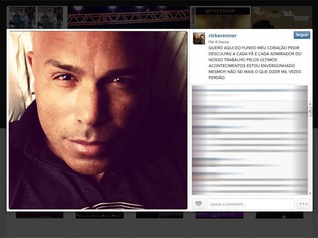 Rick, da dupla sertaneja com Renner, publicou em seu Instagram, neste domingo (28), uma mensagem de desculpas (Foto: Reprodução/Instagram)