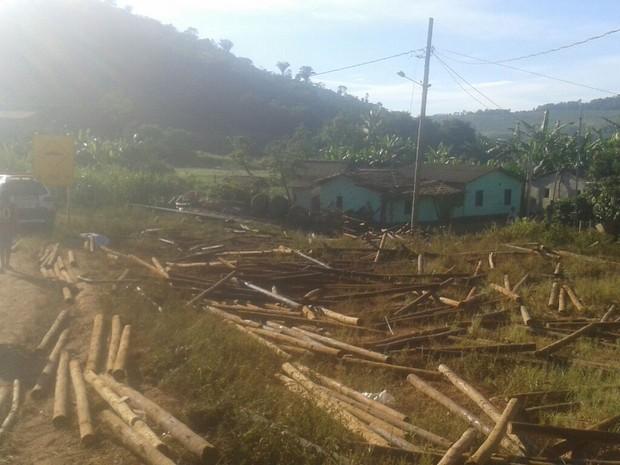 Carga de eucalipto atingiu casa abandonada  (Foto: Corpo de Bombeiros/Divulgação)