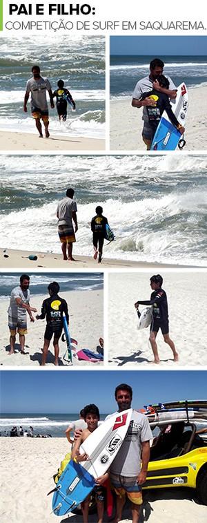 Mosaico pai e filho, surf em Saquarema (Foto: Editoria de arte)