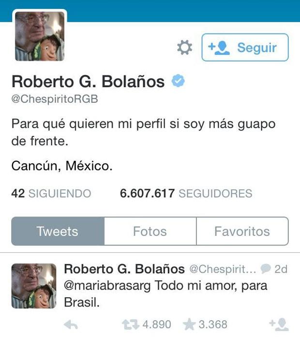 Último resgistro na conta de Roberto Bolaños no Twitter é um reply para uma fã brasileira (Foto: Reprodução/Twitter)