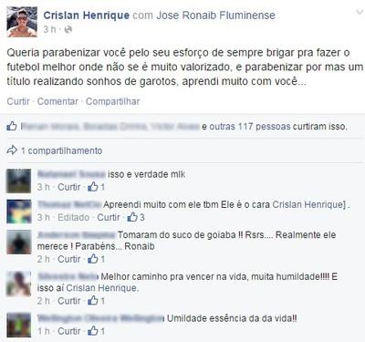 Crislan parabeniza José Ronaib (Foto: Reprodução/Facebook)