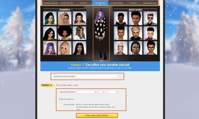Escolha seu avatar inicial e adicione as informações para criar a conta no IMVU (Foto: Reprodução/Barbara Mannara)